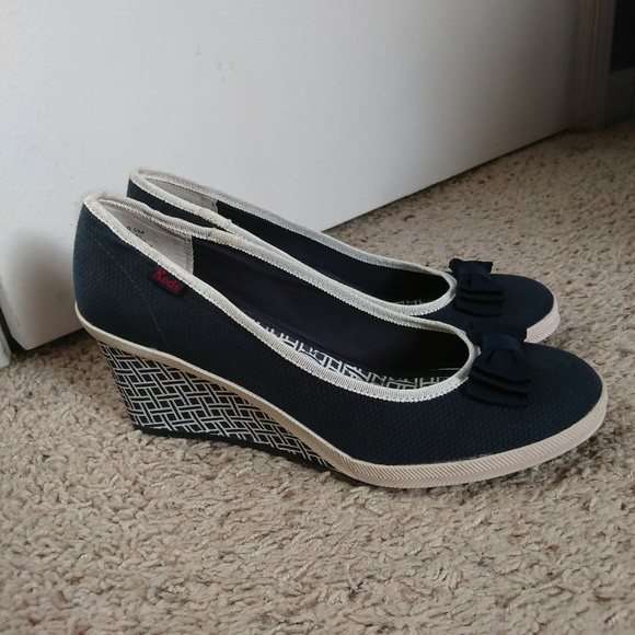 e6071df529f Keds Shoes - Keds Bliss Navy Bow Wedges